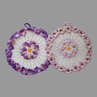Pansies Pot Holders Hot Pads Vintage Crocheted Lace Purple