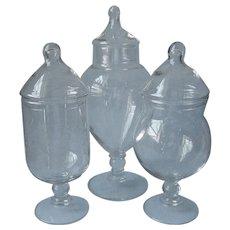 Vanity Apothecary Jars 3 Vintage Glass Inc Princess House