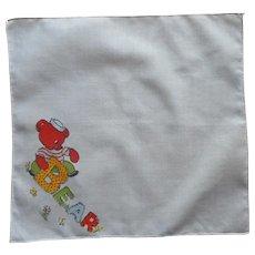 Child's Hankie Vintage Bear Printed