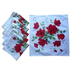 Wilendur Red Roses Napkins Vintage Kitchen Printed Cotton 6