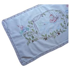 Gnomes Red Riding Hood Wolf Antique Hand Embroidered Banner Runner Dresser Scarf