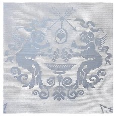 Cherubs Antique Filet Crocheted Oval Tablecloth TLC Needed