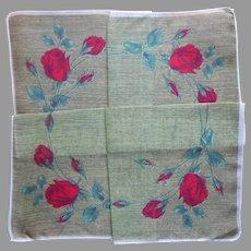 Unused Vintage Hankie Red Roses Semi Sheer Cotton Printed