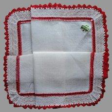 Vintage Hankie Irish Linen Lace Red Crocheted Trim Unused Label