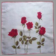 Vintage Unused Hankie Red Roses Print Hand Printed Semi Sheer