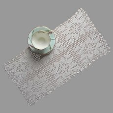Filet Crocheted Lace Tray Cloth Vintage Sturdy