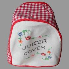 Vintage Juicer Cover Hand Embroidered Kitchen Red Gingham