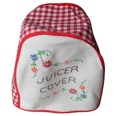 Vintage Juicer Cover Hand Embroidered Kitchen Red Gingham