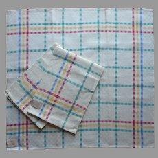 Vintage Unused Linen Napkins Windowpane Check Primary Colors 3