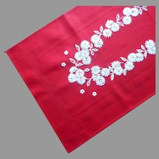 Vintage Runner Red Cotton Hand Embroidered Daisies
