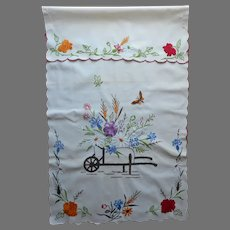 1920s Over Towel Hand Embroidered Cart Of Flowers Vintage European