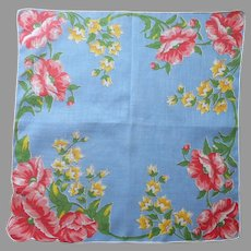 Vintage Hankie Printed Blue Poppies Yellow Bell Flowers Cotton