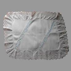 Layover Pillow Sham Antique White Eyelet Ruffles Blue Accent