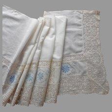 Bureau Scarf Valance Dresser Scarf Runner Antique Lace Embroidery