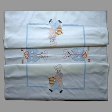 French Chef Hand Embroidery Unused Vintage Tablecloth