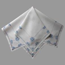 1920s Italian Work Tea Bridge Tablecloth Vintage Cream Blue Gray