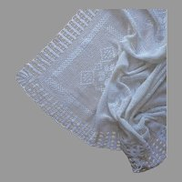 Crocheted Lace Tablecloth Vintage 1920s Unused Small 56 x 42 Kitchen