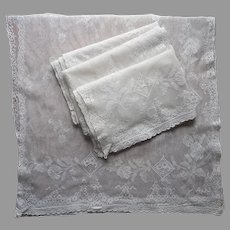 Antique Lace Curtains 4 Panels As Is 87 x 34 TLC Needed