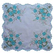 Aqua Turquoise Roses Bows Print Hankie Vintage Cotton