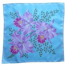 Vintage Hankie Orchids Maidenhair Ferns Aqua Lavender Printed Cotton
