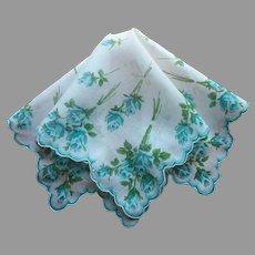 Teal Turquoise Roses Vintage Hankie Printed Cotton