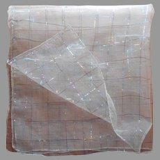 1920s to 1930s Scarf Vintage Sheer Viscose Metallic Threads Unusual TLC