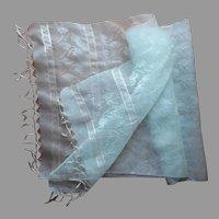 Pale Aqua 1960s Pina Cloth Scarf Wrap Vintage Metallic Threads