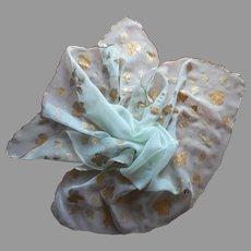 1950s Hand Painted Aqua Silk Chiffon Scarf Vintage Saks Fifth Avenue