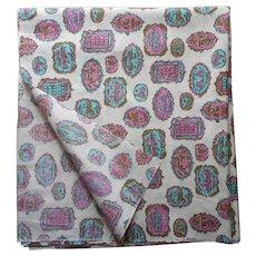 1950s Fabric Yardage Taffeta Print Turquoise Magenta Olive