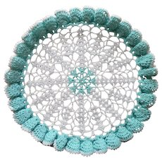 Aqua Crocheted Lace Doily Vintage White Deep Ruffle To Starch