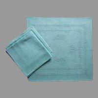 Aqua Linen Small Napkins Vintage Set 4 Pulled Thread Work