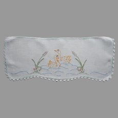 Toilet Tank Doily Cover Swans Hand Embroidery Vintage Aqua Edging