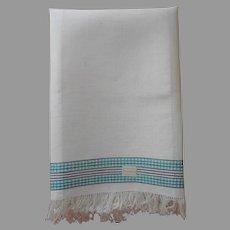 ca 1920 Czech Linen Towel Aqua Black Fringed Hems Label Unused Antique