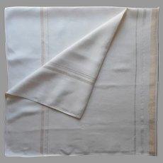 1950s Tablecloth Gold Silver Metallic White 51 x 49 Square Vintage Mid Century