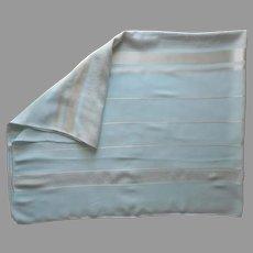 1950s Tablecloth Sky Blue Metallic Gold White Vintage Mid Century 65 x 52