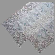 Pair Runners ca 1920 Deep Lace Trim Blu Gray Embroidery Cream Cotton Antique