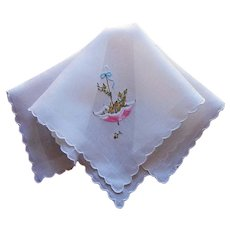 Vintage Hankie Swiss Hand Embroidered Pink Umbrella Yellow Roses