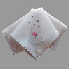 Vintage Swiss Hand Embroidered Hankie Unused Pink Roses Blue Forget Me Nots