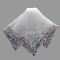 Lace Rhinestones Hankie Vintage Linen