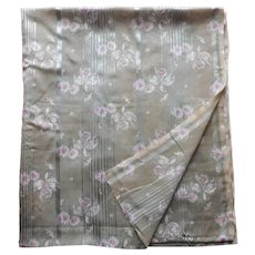 1910s Fabric Semi Sheer Printed Satin Striped Olive Green Hot Pink
