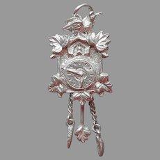 Charm Black Forest Cuckoo Clock Mechanical Vintage 800 Silver European