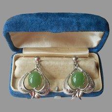 Jade Sterling Silver Filigree Pierced Earrings Vintage JJJ Dangle