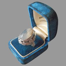 Sterling Silver Unusual Agate Arts and Crafts Leaves Ring Vintage Size 10.75