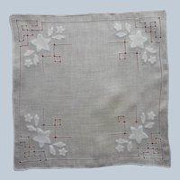 Vintage Hankie Appliqued Linen All White