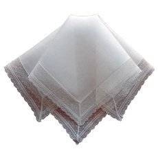 Linen Lace Hankie Vintage Unused Handkerchief