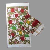 Linen Tea Towels Towel Set 8 Vintage Apples Print Printed TLC