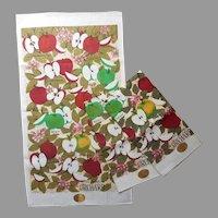 Linen Tea Towels Towel Set 3 Unused Vintage Apples Print Printed