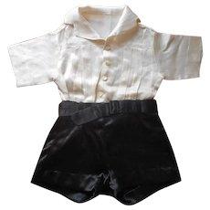 ca 1930 Silk Boy's Ring Bearer Formal Vintage 2 Piece Shorts Shirt Attached Set