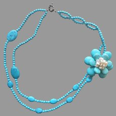 Freshwater Pearls Turquoise Color Glass Beads Flower Necklace