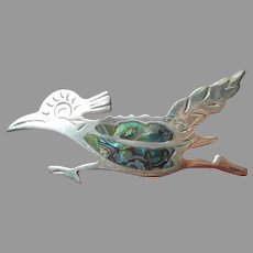 Taxco Beto Sterling Silver Roadrunner Bird Pin Vintage Abalone Inlay